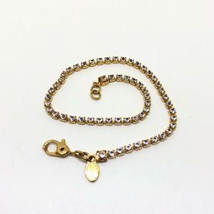 🆕Vintage Monet Gold Rhinestone Tennis Bracelet